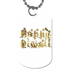 Happy Diwali Gold Golden Stars Star Festival Of Lights Deepavali Typography Dog Tag (two Sides)