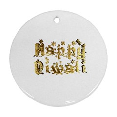 Happy Diwali Gold Golden Stars Star Festival Of Lights Deepavali Typography Round Ornament (two Sides)