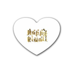 Happy Diwali Gold Golden Stars Star Festival Of Lights Deepavali Typography Heart Coaster (4 Pack)