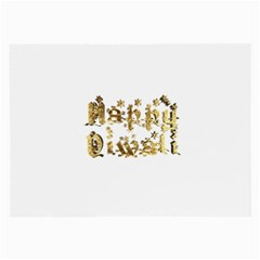 Happy Diwali Gold Golden Stars Star Festival Of Lights Deepavali Typography Large Glasses Cloth (2 Side)