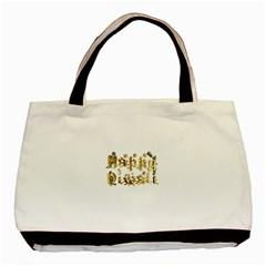 Happy Diwali Gold Golden Stars Star Festival Of Lights Deepavali Typography Basic Tote Bag (two Sides)