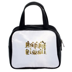 Happy Diwali Gold Golden Stars Star Festival Of Lights Deepavali Typography Classic Handbags (2 Sides)