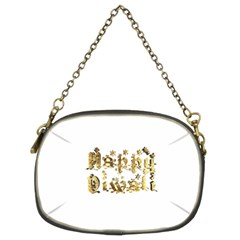 Happy Diwali Gold Golden Stars Star Festival Of Lights Deepavali Typography Chain Purses (two Sides)