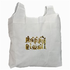 Happy Diwali Gold Golden Stars Star Festival Of Lights Deepavali Typography Recycle Bag (one Side)