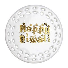 Happy Diwali Gold Golden Stars Star Festival Of Lights Deepavali Typography Ornament (round Filigree)