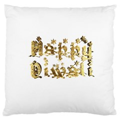 Happy Diwali Gold Golden Stars Star Festival Of Lights Deepavali Typography Large Cushion Case (one Side)