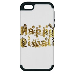 Happy Diwali Gold Golden Stars Star Festival Of Lights Deepavali Typography Apple Iphone 5 Hardshell Case (pc+silicone)