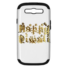 Happy Diwali Gold Golden Stars Star Festival Of Lights Deepavali Typography Samsung Galaxy S Iii Hardshell Case (pc+silicone)