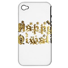 Happy Diwali Gold Golden Stars Star Festival Of Lights Deepavali Typography Apple Iphone 4/4s Hardshell Case (pc+silicone)