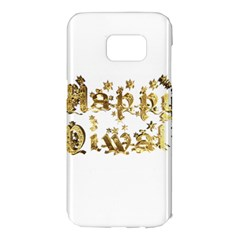 Happy Diwali Gold Golden Stars Star Festival Of Lights Deepavali Typography Samsung Galaxy S7 Edge Hardshell Case