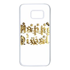 Happy Diwali Gold Golden Stars Star Festival Of Lights Deepavali Typography Samsung Galaxy S7 White Seamless Case