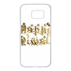 Happy Diwali Gold Golden Stars Star Festival Of Lights Deepavali Typography Samsung Galaxy S7 Edge White Seamless Case