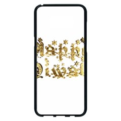Happy Diwali Gold Golden Stars Star Festival Of Lights Deepavali Typography Samsung Galaxy S8 Plus Black Seamless Case