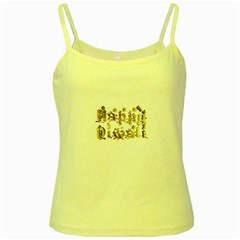 Happy Diwali Gold Golden Stars Star Festival Of Lights Deepavali Typography Yellow Spaghetti Tank