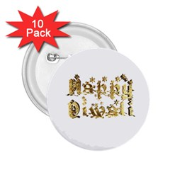 Happy Diwali Gold Golden Stars Star Festival Of Lights Deepavali Typography 2 25  Buttons (10 Pack)