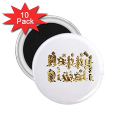 Happy Diwali Gold Golden Stars Star Festival Of Lights Deepavali Typography 2 25  Magnets (10 Pack)