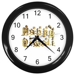 Happy Diwali Gold Golden Stars Star Festival Of Lights Deepavali Typography Wall Clocks (black)