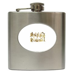 Happy Diwali Gold Golden Stars Star Festival Of Lights Deepavali Typography Hip Flask (6 Oz)