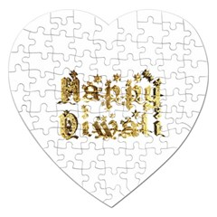 Happy Diwali Gold Golden Stars Star Festival Of Lights Deepavali Typography Jigsaw Puzzle (heart)