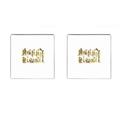 Happy Diwali Gold Golden Stars Star Festival Of Lights Deepavali Typography Cufflinks (square)