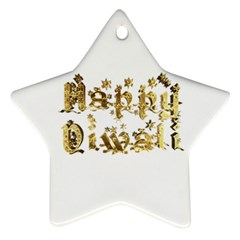 Happy Diwali Gold Golden Stars Star Festival Of Lights Deepavali Typography Star Ornament (two Sides)