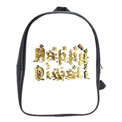 Happy Diwali Gold Golden Stars Star Festival Of Lights Deepavali Typography School Bag (large)