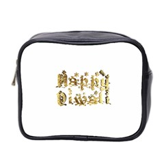 Happy Diwali Gold Golden Stars Star Festival Of Lights Deepavali Typography Mini Toiletries Bag 2 Side