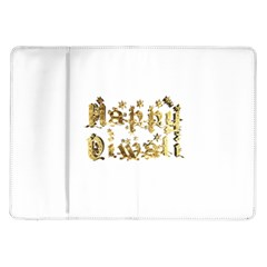 Happy Diwali Gold Golden Stars Star Festival Of Lights Deepavali Typography Samsung Galaxy Tab 10 1  P7500 Flip Case
