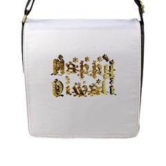 Happy Diwali Gold Golden Stars Star Festival Of Lights Deepavali Typography Flap Messenger Bag (l)