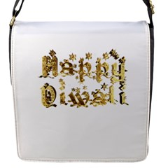 Happy Diwali Gold Golden Stars Star Festival Of Lights Deepavali Typography Flap Messenger Bag (s)