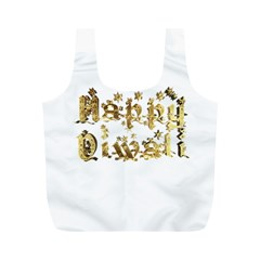 Happy Diwali Gold Golden Stars Star Festival Of Lights Deepavali Typography Full Print Recycle Bags (m)