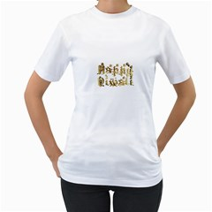 Happy Diwali Gold Golden Stars Star Festival Of Lights Deepavali Typography Women s T Shirt (white)