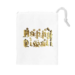 Happy Diwali Gold Golden Stars Star Festival Of Lights Deepavali Typography Drawstring Pouches (large)