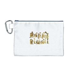 Happy Diwali Gold Golden Stars Star Festival Of Lights Deepavali Typography Canvas Cosmetic Bag (m)