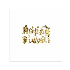 Happy Diwali Gold Golden Stars Star Festival Of Lights Deepavali Typography Small Satin Scarf (square)