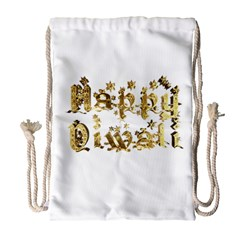 Happy Diwali Gold Golden Stars Star Festival Of Lights Deepavali Typography Drawstring Bag (large)