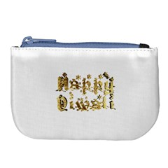 Happy Diwali Gold Golden Stars Star Festival Of Lights Deepavali Typography Large Coin Purse
