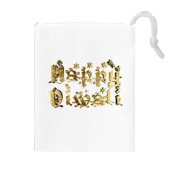 Happy Diwali Gold Golden Stars Star Festival Of Lights Deepavali Typography Drawstring Pouches (extra Large)