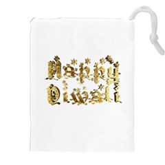 Happy Diwali Gold Golden Stars Star Festival Of Lights Deepavali Typography Drawstring Pouches (xxl)