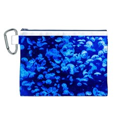 Blue Jellyfish Canvas Cosmetic Bag (l)