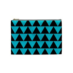 Triangle2 Black Marble & Turquoise Colored Pencil Cosmetic Bag (medium)