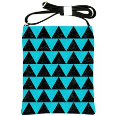 Triangle2 Black Marble & Turquoise Colored Pencil Shoulder Sling Bags