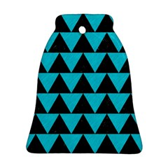 Triangle2 Black Marble & Turquoise Colored Pencil Ornament (bell)