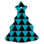 TRIANGLE2 BLACK MARBLE & TURQUOISE COLORED PENCIL Christmas Tree Ornament (Two Sides) Back