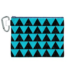 Triangle2 Black Marble & Turquoise Colored Pencil Canvas Cosmetic Bag (xl)