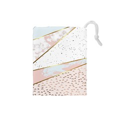 Collage,white Marble,gold,silver,black,white,hand Drawn, Modern,trendy,contemporary,pattern Drawstring Pouches (small)