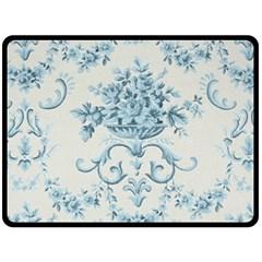 Blue Vintage Floral  Fleece Blanket (large)