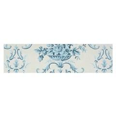 Blue Vintage Floral  Satin Scarf (oblong)