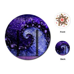 Beautiful Violet Spiral For Nocturne Of Scorpio Playing Cards (round)