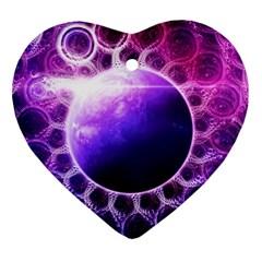 Beautiful Violet Nasa Deep Dream Fractal Mandala Ornament (heart)
